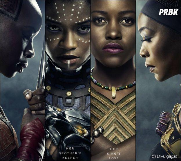 """Em """"Pantera Negra"""", as mulheres do Universo Marvel finalmente são bem representadas por (na ordem da esquerda para direita): Okoye (Danai Gurira), Shuri (Latitia Wright), Nakia (Lupita Nyong'o) e Ramonda (Angela Bassett)"""