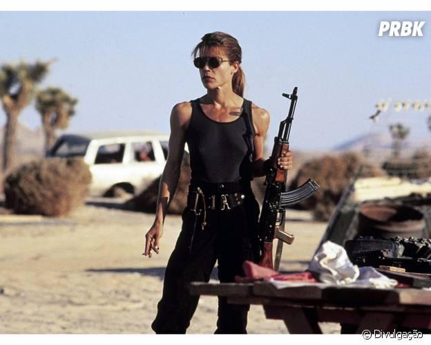 "Linda Hamilton vive a heroína Sarah Connor na franquia ""O Exterminador do Futuro"""