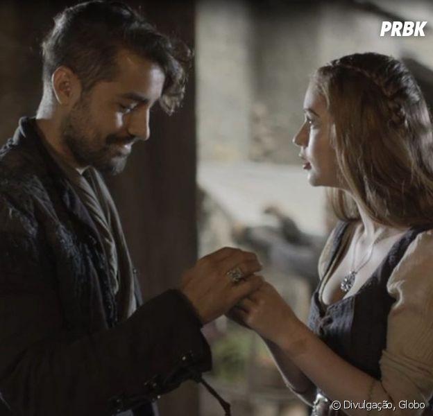 """Em """"Deus Salve o Rei"""", Virgílio (Ricardo Pereira) sequestra Amália (Marina Ruy Barbosa)"""