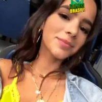Bruna Marquezine torce por Neymar Jr. na Rússia usando sutiã amarelo