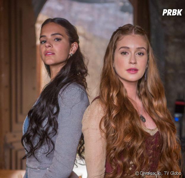 """No final de """"Deus Salve o Rei"""", Amália (Marina Ruy Barbosa) descobre que Catarina (Bruna Marquezine) é sua irmã"""