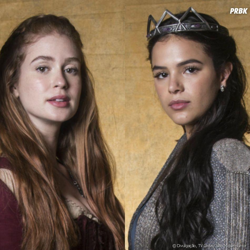 """Em """"Deus Salve o Rei"""", Amália (Marina Ruy Barbosa) e Catarina (Bruna Marquezine) são irmãs por parte de pai"""