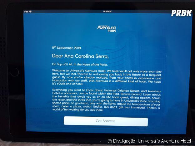 O Universal's Aventura Hotel personaliza até o tablet dos quartos com o nome do hóspede!