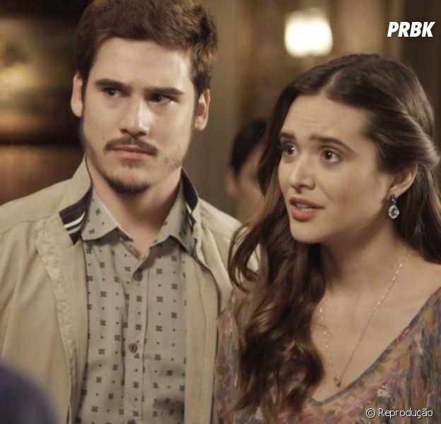 """Em """"O Tempo Não Para"""", Marocas (Juliana Paiva) decide largar a família no Natal para ficar com Samuca (Nicolas Prattes)"""