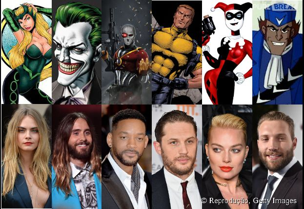"O elenco principal de ""Esquadrão Suicida"" conta com Jared Leto, Will Smith, Tom Hardy, Margot Robbie, Jai Courtney e Cara Delevingne."
