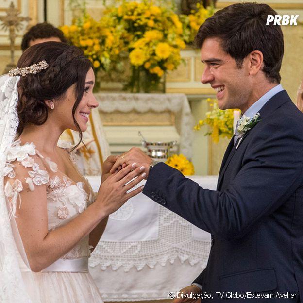 """""""Haja Coração"""": Felipe (Marcos Pitomba) e Shirlei (Sabrina Petraglia) casam no final da novela"""