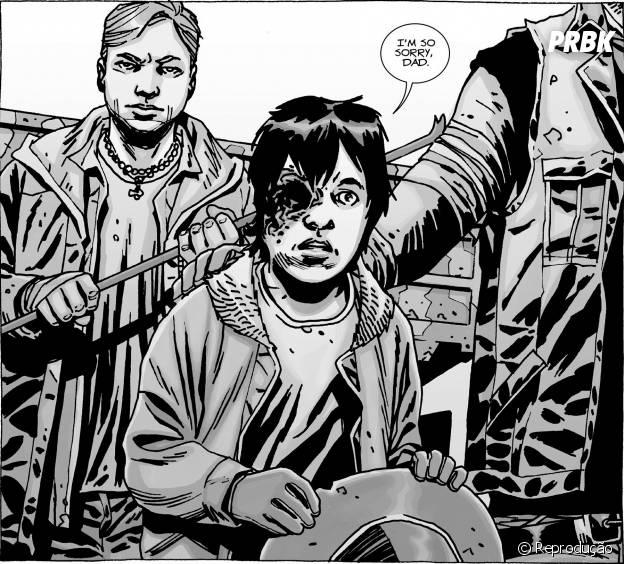 """Nos quadrinhos de """"The Walking Dead"""", Carl (Chandler Riggs) fica sem um olho, será que na série vai ser assim?"""