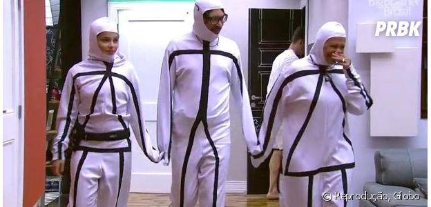 """Emilly, Ilmar e Ieda vestem roupa que une os três para Castigo do Monstro no """"BBB17"""""""