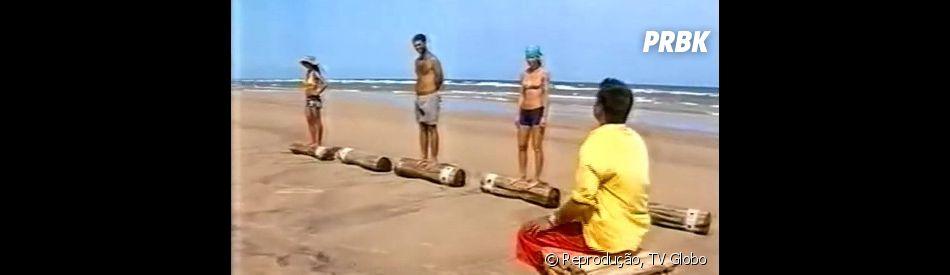 """""""No Limite"""": participantes tiveram que ficar em cima de um tronco, em pé, resistindo ao sol e à fome, em prova do reality show"""