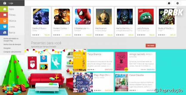 Descontos de Natal em livros, games, filmes e música na Google Play Store para Android
