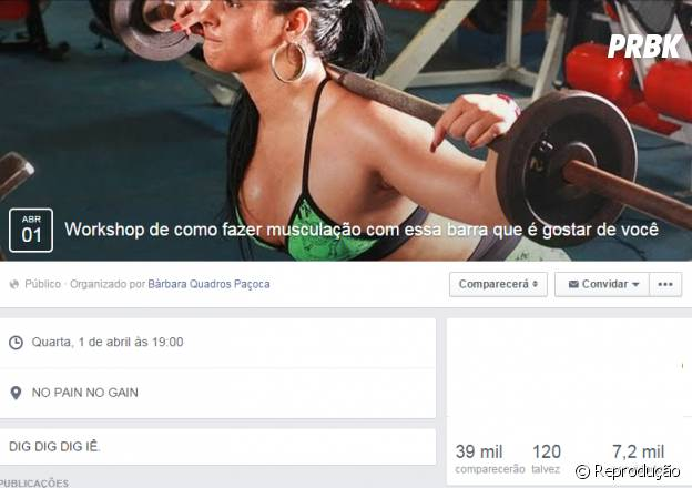 """""""Workshop de como fazer musculação com a barra que é gostar de você"""""""