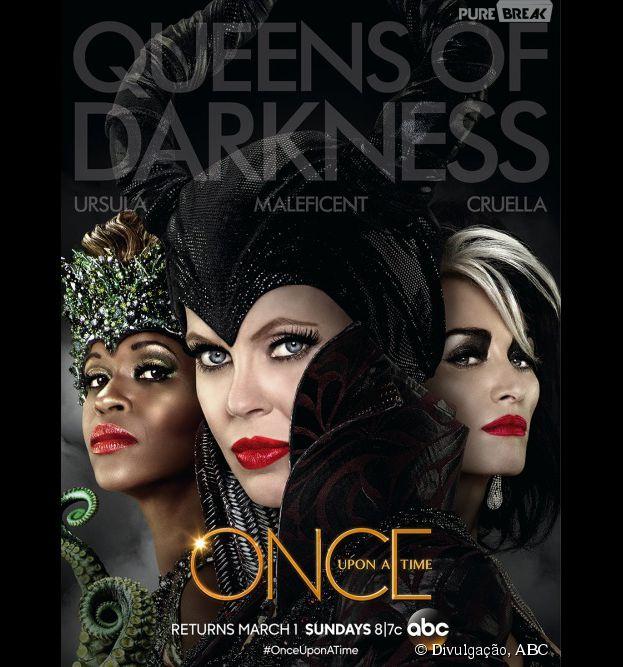 "Em ""Once Upon a Time"", Malévola (Kristin Bauer), Cruella (Victoria Smurfit) e Ursula (Merrin Dungey) vão aterrorizar Storybrooke!"