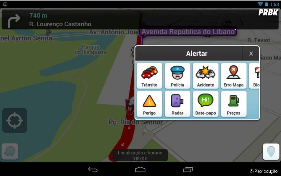 No Waze, os alertas de trânsito são feitos pelos próprios usuários