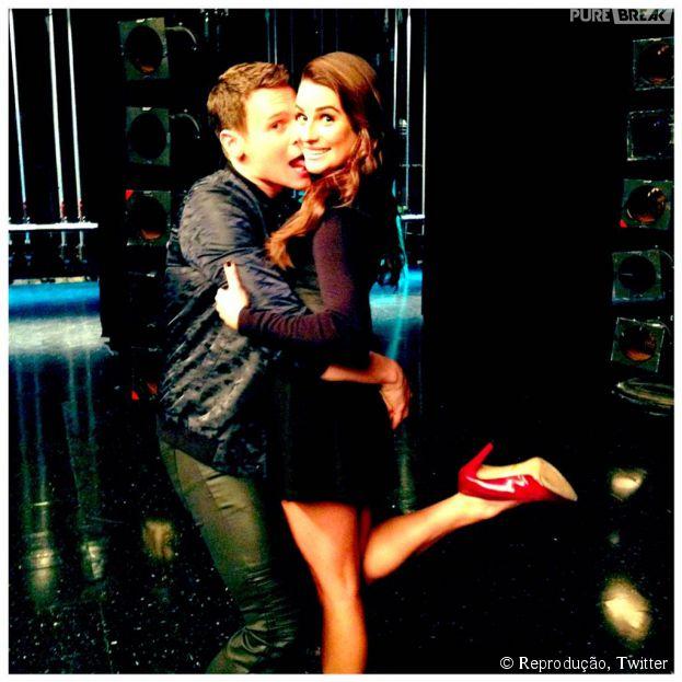 "Em ""Glee"", Lea Michele gravou ao lado de Jonathan Groff, o Jesse St. James"
