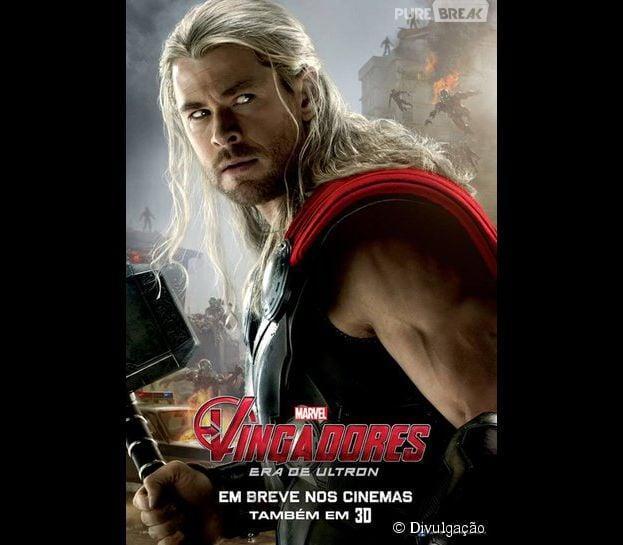 """""""Os Vingadores: Era de Ultron"""" divulga novos cartazes. Thor em batalha contra as forças do mal"""