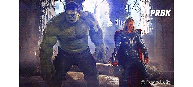 """Hulk e Thor de """"Os Vingadores: Era de Ultron"""""""