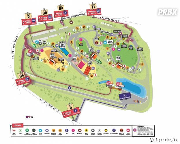 As apresentações do Lollapalooza ocorrem em três principais palcos: Axe, Onix e Skol