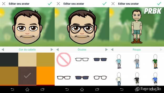 O aplicativo Bitmoji oferece várias opções para criar um super avatar personalizado e enviar para toda a galera!