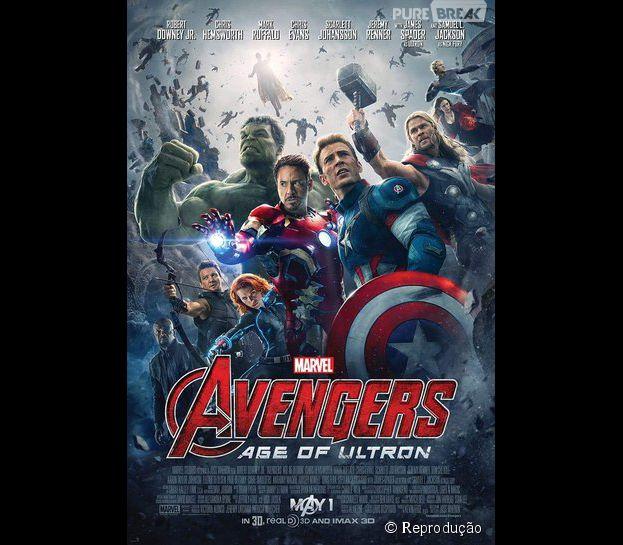 """No pôster de """"Os Vingadores 2: A Era de Ultron"""", lançado pela Marvel em 23 de abril, os super-heróis aparecem rodeados pelo vilão Ultron"""