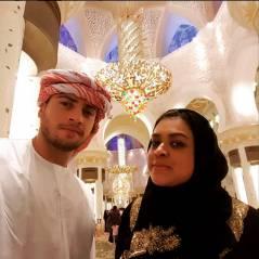 Preta Gil e Rodrigo Godoy se vestem de sheik em visita a mesquita em lua de mel em Abu Dhabi
