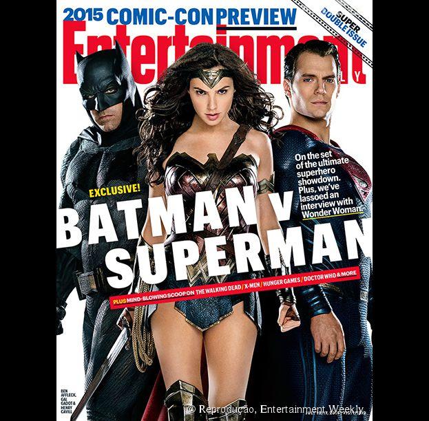 """Os protagonistas de """"Batman V Superman: A Origem da Justiça"""" são a capa da Entertainment Weekly"""