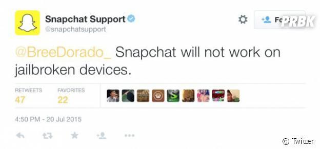 Conta oficial do Snapchat no Twitter confirma bloqueio do aplicativo para usuários com jailbreak