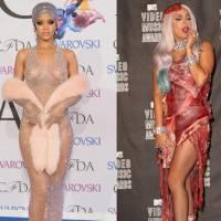 Rihanna ou Lady Gaga? Qual cantora tem o estilo mais ousado em tapetes vermelhos?