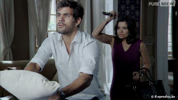 """Aline (Vanessa Giácomo) tentou matar seu comparsa Ninho (Juliano Cazarré) em """"Amor à Vida"""""""