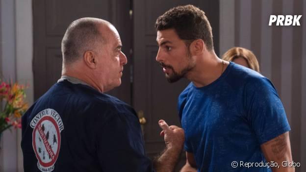 """Novela """"A Regra do Jogo"""": Juliano (Cauã Reymond) e Zé Maria (Tony Ramos) são feridos em batalha"""