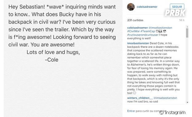 """Sebastian Stan, de """"Capitão América 3"""", responde fã no Instagram"""