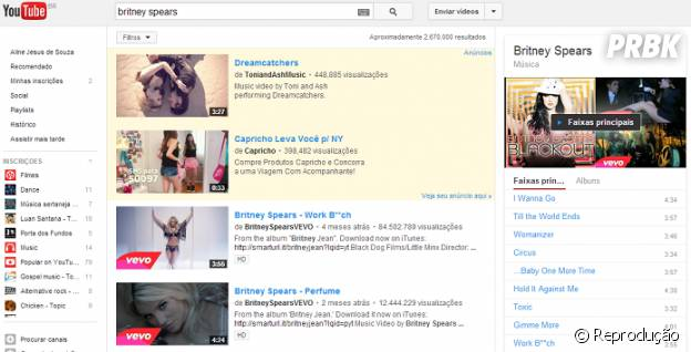 Novo menu de artistas no YouTube