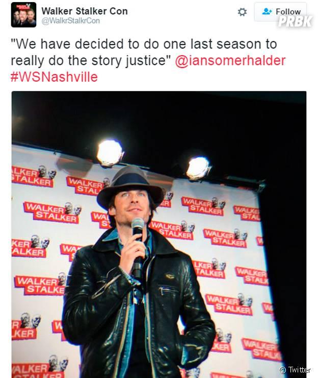 """Em convenção, Ian Somerhalder anuncia que vai sair de """"The Vampire Diaries"""""""
