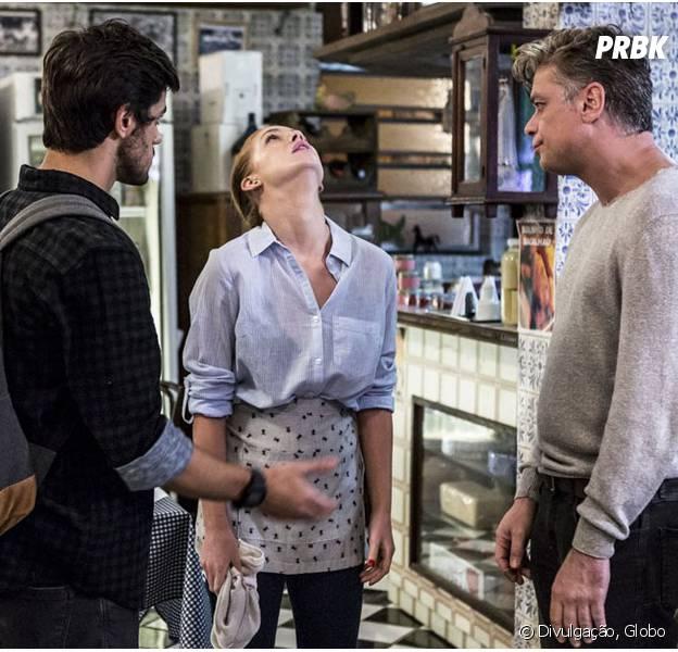 """Em """"Totalmente Demais"""", Eliza (Marina Ruy Barbosa) se irrita com Jonatas (Felipe Simas) e Arthur (Fábio Assunção) e expulsa os dois do Flor do Lácio"""