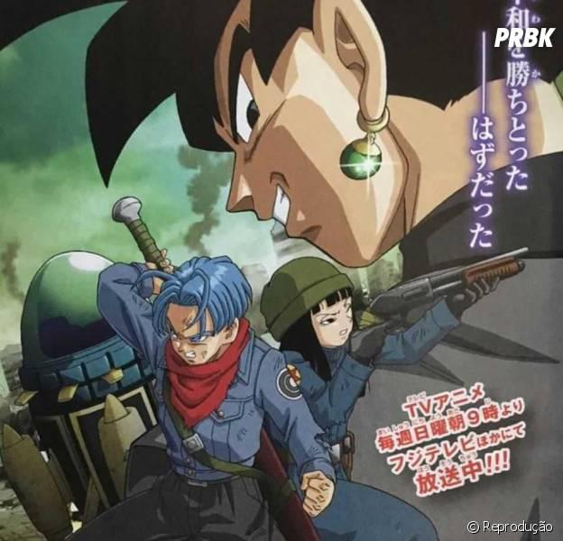 """Em """"Dragon Ball Super"""": Black Goku, Mirai Trunks e Mai aparecem em imagem oficial"""