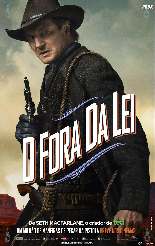 """Liam Neeson em cartaz de """"Um Milhão de Maneiras de Pegar na Pistola"""""""