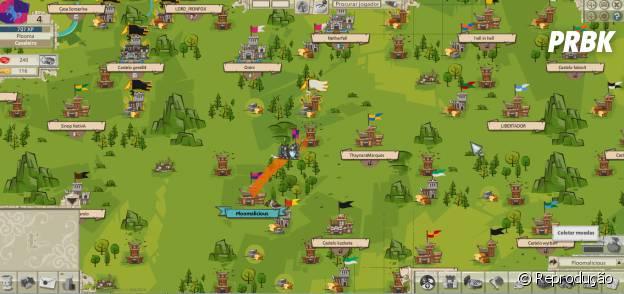 """Mapa de """"Goodgame Empire"""" que mostra os castelos rivais para você conquistar."""