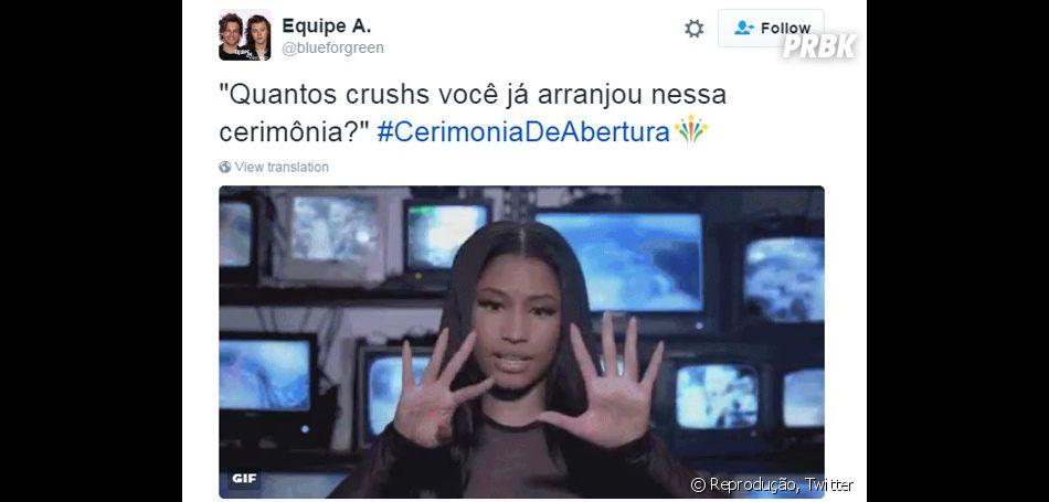 Os crushs rolaram soltos durante a Cerimônia de Abertura das Olimpíadas RIo 2016