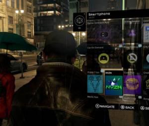 """O smatphone de Aidan, do jogo """"Watch Dogs"""" ossui diversos aplicativos especiais."""