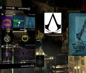 """Sobrepondo as imagens, o ícone do celular do personagem de """"Watch Dogs"""" lembra o símbro da ordem dos assassinos de """"Assassins Creed"""""""