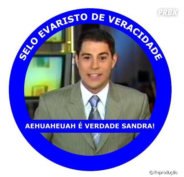 """VDD SD tira sarro com o jornalista Evaristo Costa que sempre fala a mesma frase """"é verdade Sandra"""""""