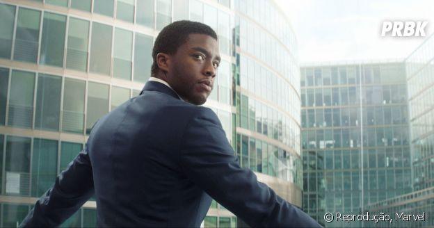 """Em """"Pantera Negra"""": T'Challa (Chadwick Boseman) é principe de Wakanda, nação fictícia na África, e terá missão de assumir lugar do pai!"""