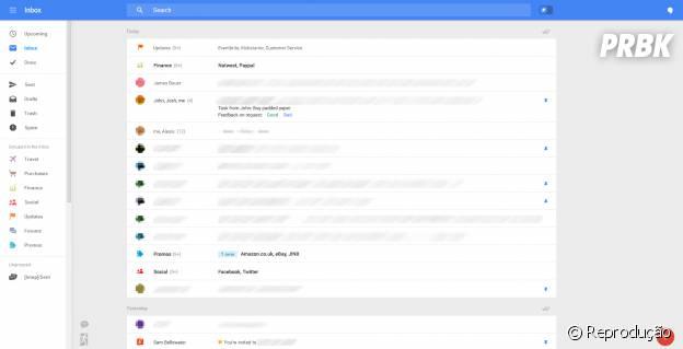 Imagens do teste da possível nova versão do Gmail para desktop