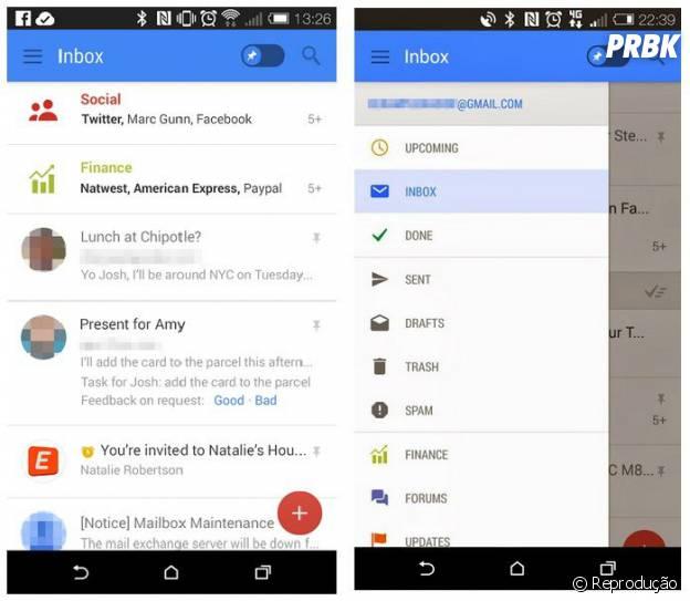 Será que a Google quer deixar o site Gmail parecido com o aplicativo?