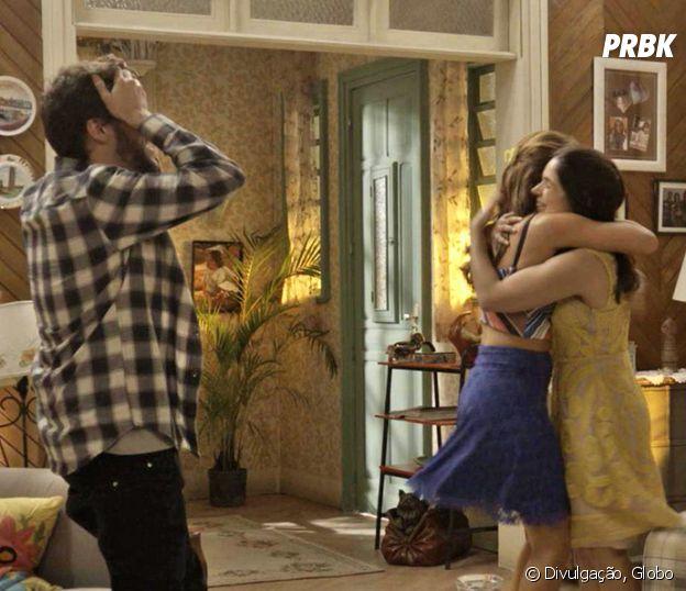 """Novela """"Haja Coração"""": Shirlei (Sabrina Petraglia) comemora com Giovanni (Jayme Matarazzo) e Tancinha (Mariana Ximenes) notícia de que está grávida de Felipe (Marcos Pitombo)"""