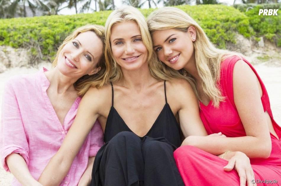 """Cameron Diaz, Kate Upton (dir.) e Leslie Mann (esq.) estrelam comédia """"Mulheres ao Ataque"""""""