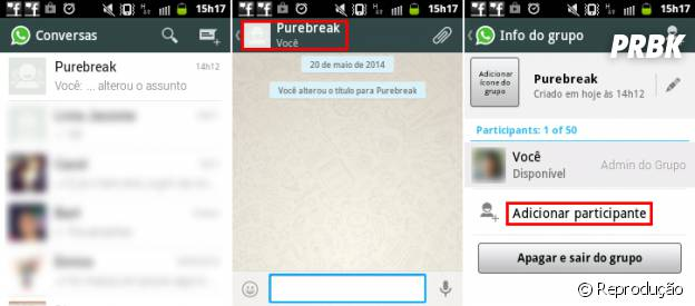 Acessando as informações do grupo do Whatsapp