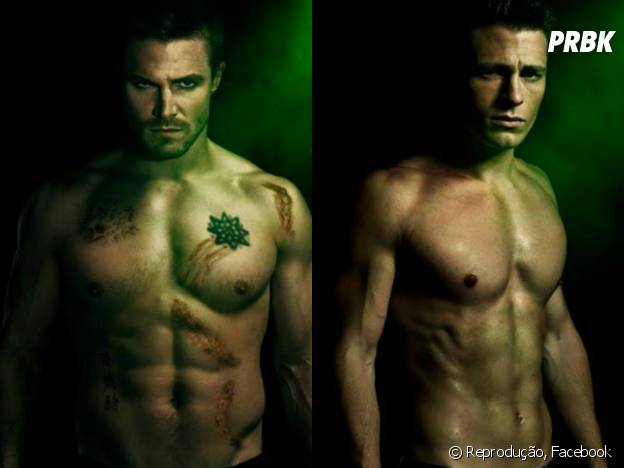 "Os gatos Oliver Queen (Stephen Amell) e Roy Harper (Colton Haynes) da série bombástica ""Arrow"", da The CW!"