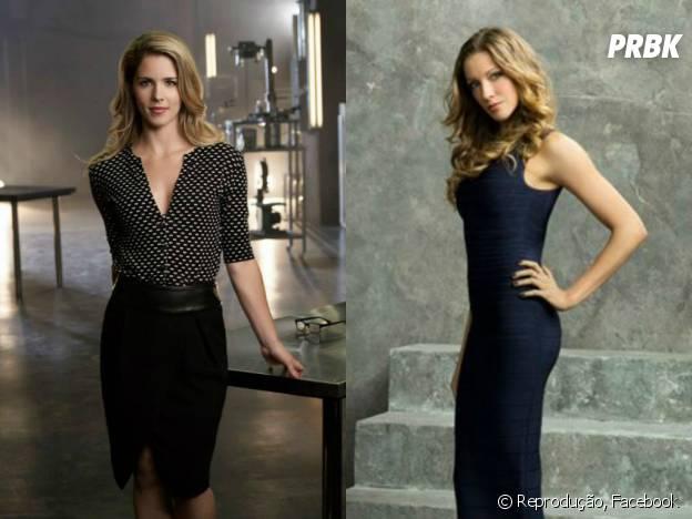 """As gatas que arrasam em """"Arrow"""",  a nerd Felicity Smoak (Emily Bett Rickards) e a advogada Laurel Lance (Katie Cassidy)!"""