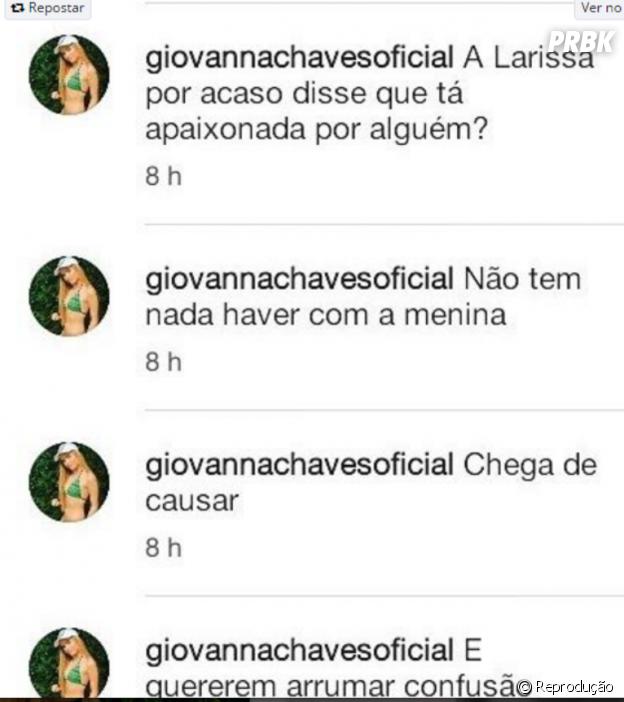 Giovanna Chaves diz que indireta não foi para Larissa Manoela!
