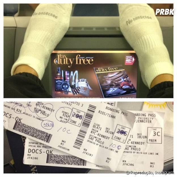 Jennifer Lopez mostra passagem de avião com o Brasil como destino